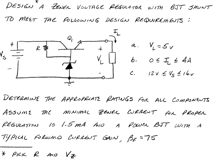 Design a ZENER VOLTAGE REGULATOR WITH BJT SHUNT TO