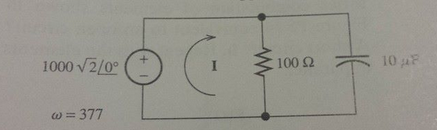 Consider the circuit shown. Find the phasor curren