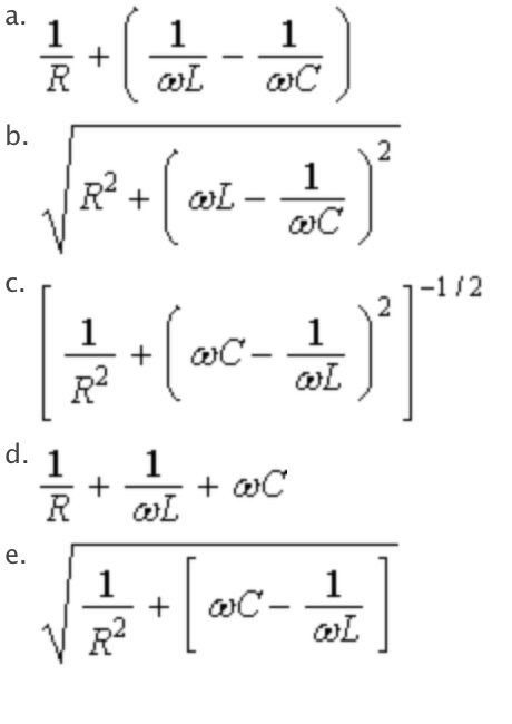 solved  the impedance of the parallel rlc circuit shown is