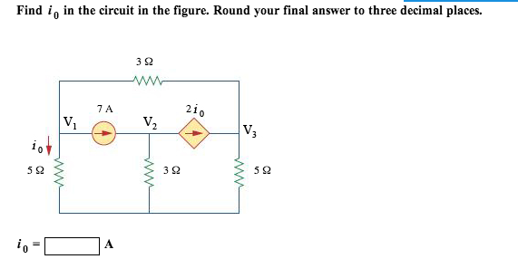 Find i0 in the circuit in the figure. Round your