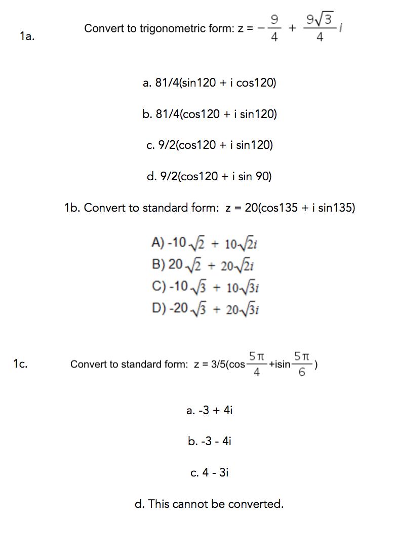 Convert to trigonometric form z 94 9squarer chegg convert to trigonometric form z 94 9squarer falaconquin