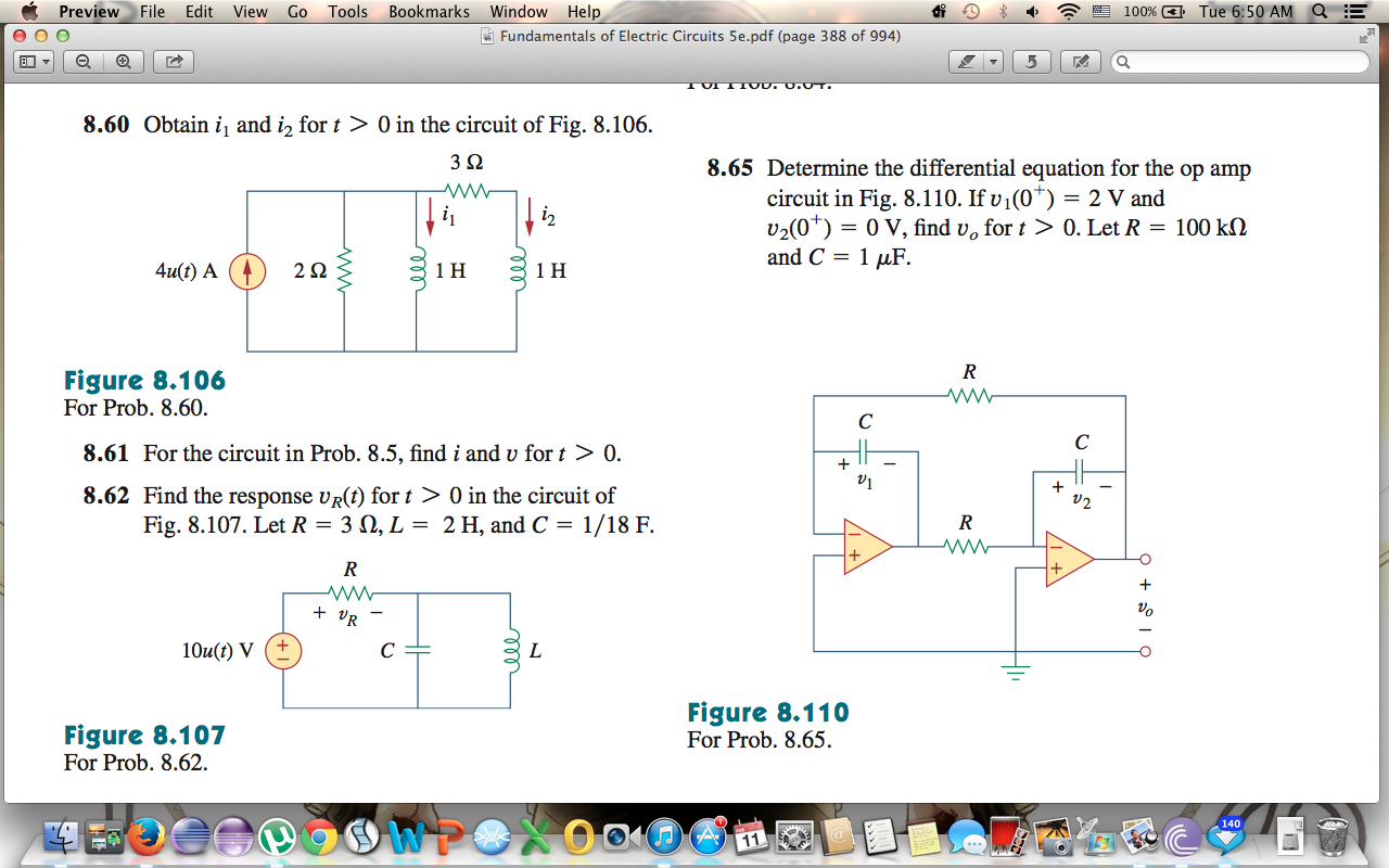 Obtain i1 and i2 for t > 0 in the circuit of Fig.