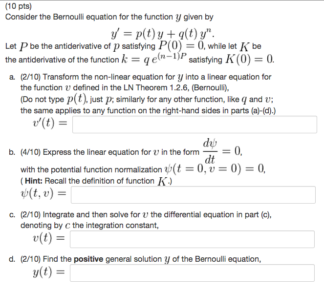 Solved 10 pts consider the bernoulli equation for the f solved 10 pts consider the bernoulli equation for the f chegg sciox Image collections