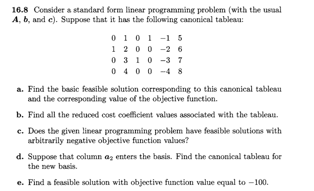 Consider A Standard Form Linear Programming Proble Chegg