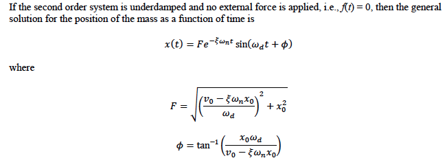 If the second order system is underdamped and no e