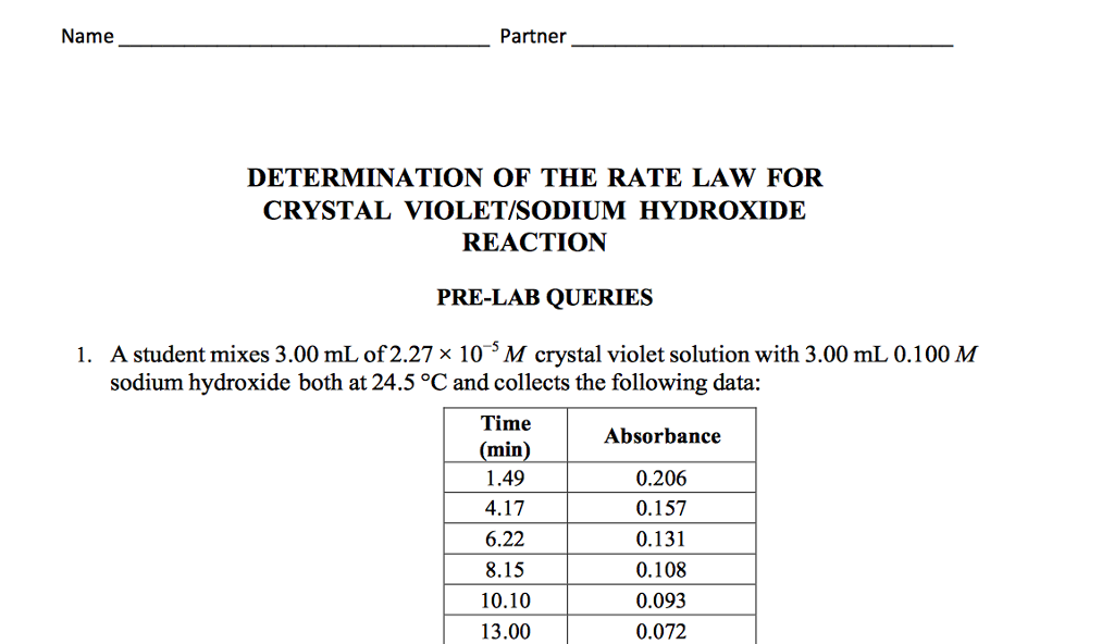 rate reaction of crystal violet Improving student results in the crystal violet chemical kinetics  reaction is first-order in crystal violet,  in reality the reaction follows the rate law for a.