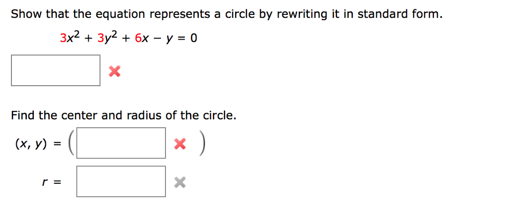Show That The Equation Represents A Circle By Rewr... | Chegg.com