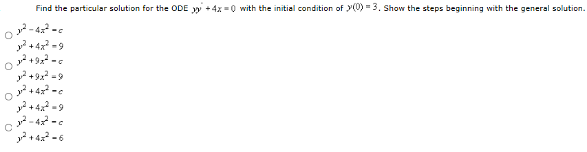 Find the particular solution for the ODE yy + 4x =
