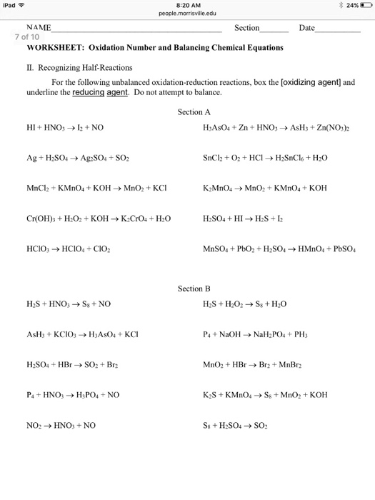 IPad 820 AM NAME WORKSHEET Oxidation Number A – Oxidation Numbers Worksheet