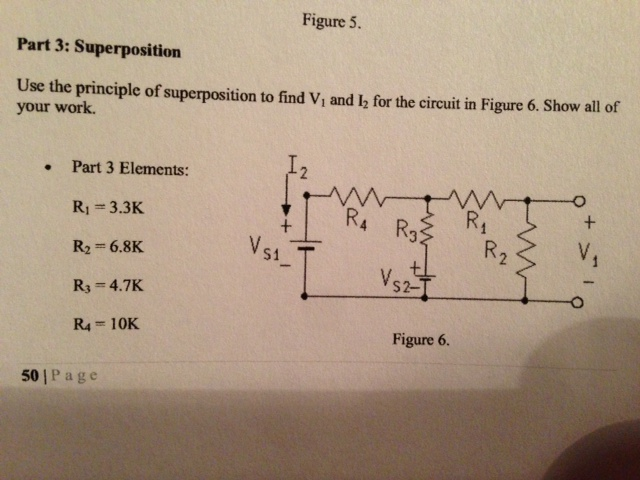 Use the principle of superposition to find V1 and