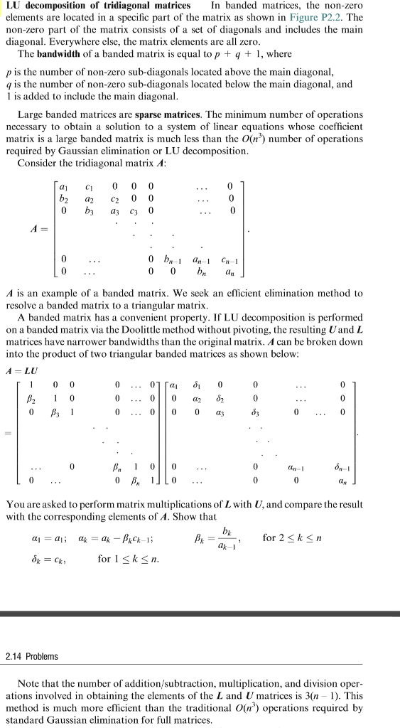 Solved: LU Decomposition Of Tridiagonal Matrices In Banded ...