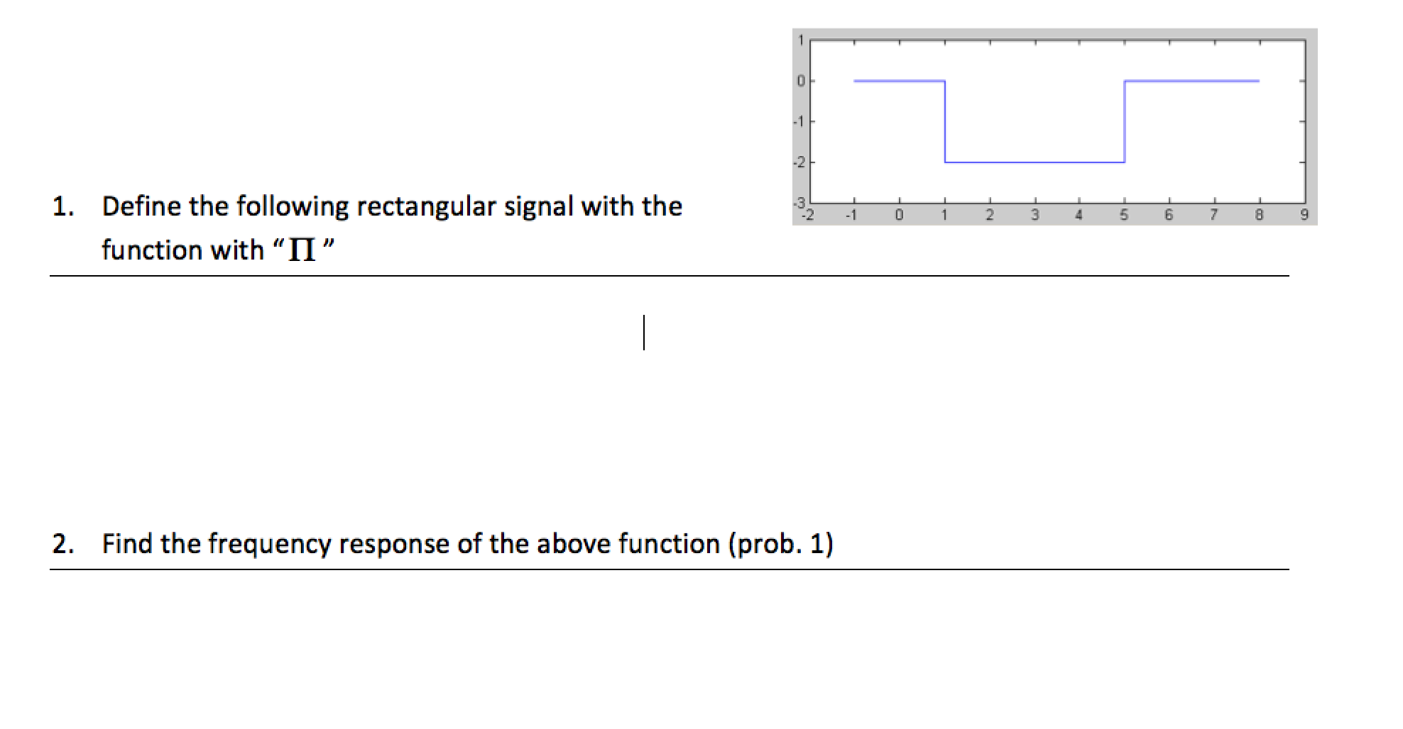 Define the following rectangular signal with the f
