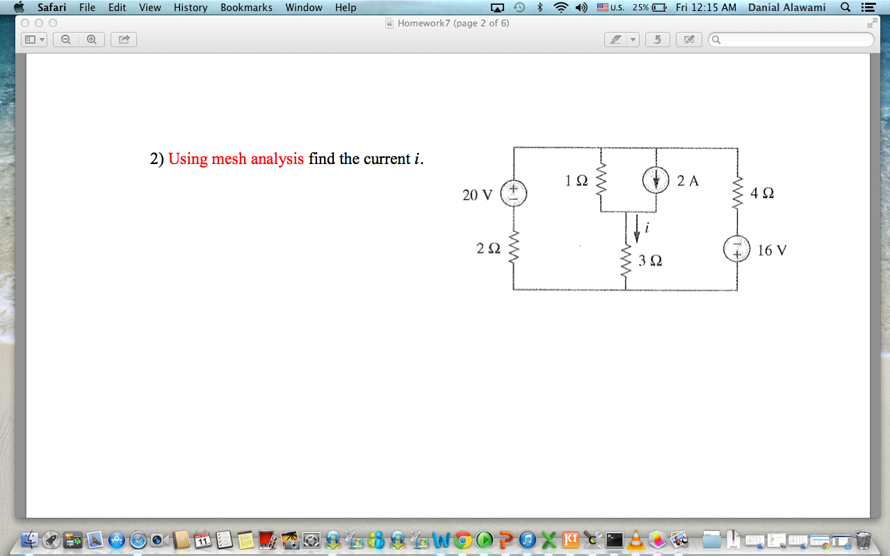 Using mesh analysis find the current i.
