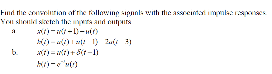 Find the convolution of the following signals with