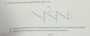 For the given periodic signal periodic signal x(t)