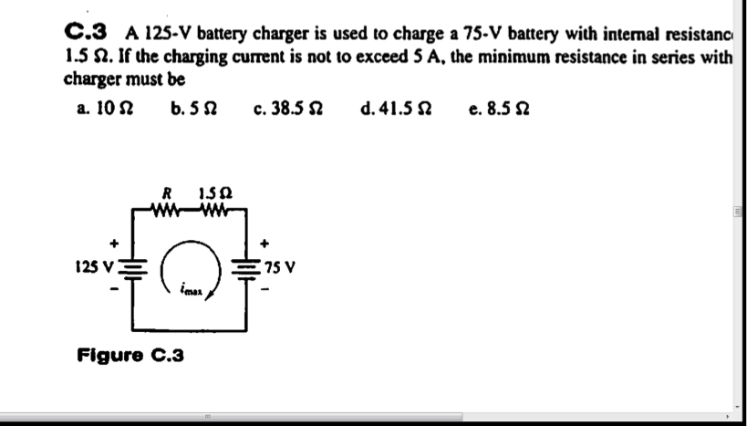 A 12S - V battery charger is used to charge a 75 -