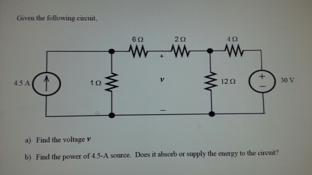 Given the following circuit Find the voltage v F