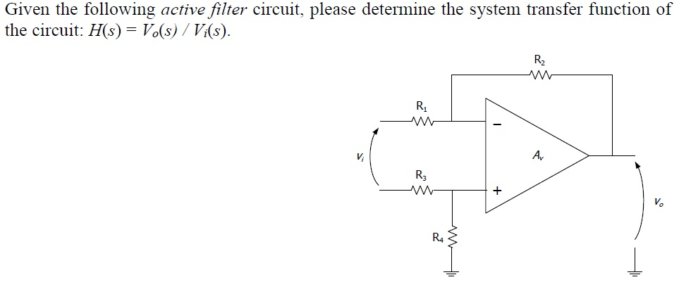 Given the following active filter circuit, please