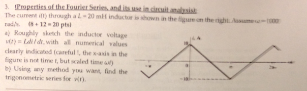The current i(t) through a L = 20 mH inductor is s