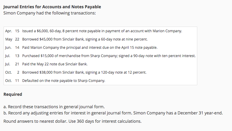 Journal Entries For Accounts And Notes Payable Simon Company Had The  Following Transactions: Apr.  Note Payable Form