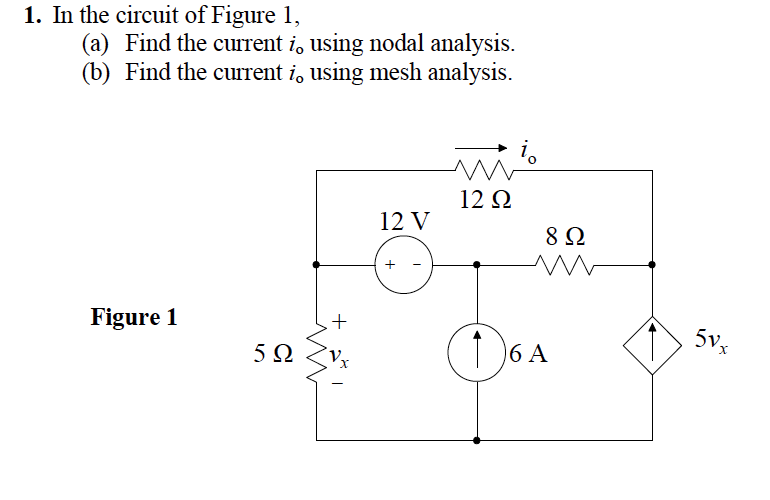 In the circuit of Figure 1, Find the current io u