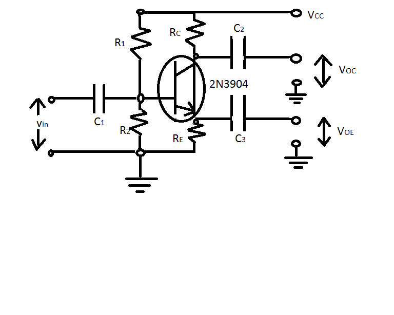 The phase inverter circuit in the figure was built