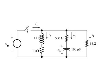 Consider the circuit shown in figure below, after