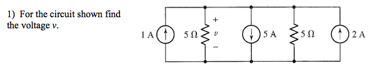 For the circuit shown find the voltage v.