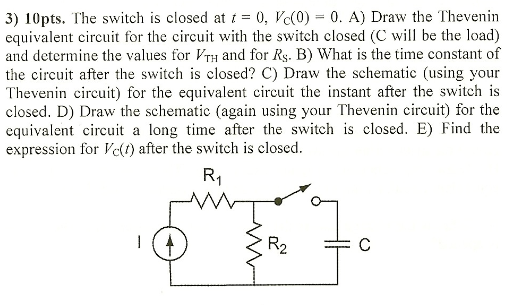 The switch is closed at t = 0, Vc(0) = 0. A) Draw