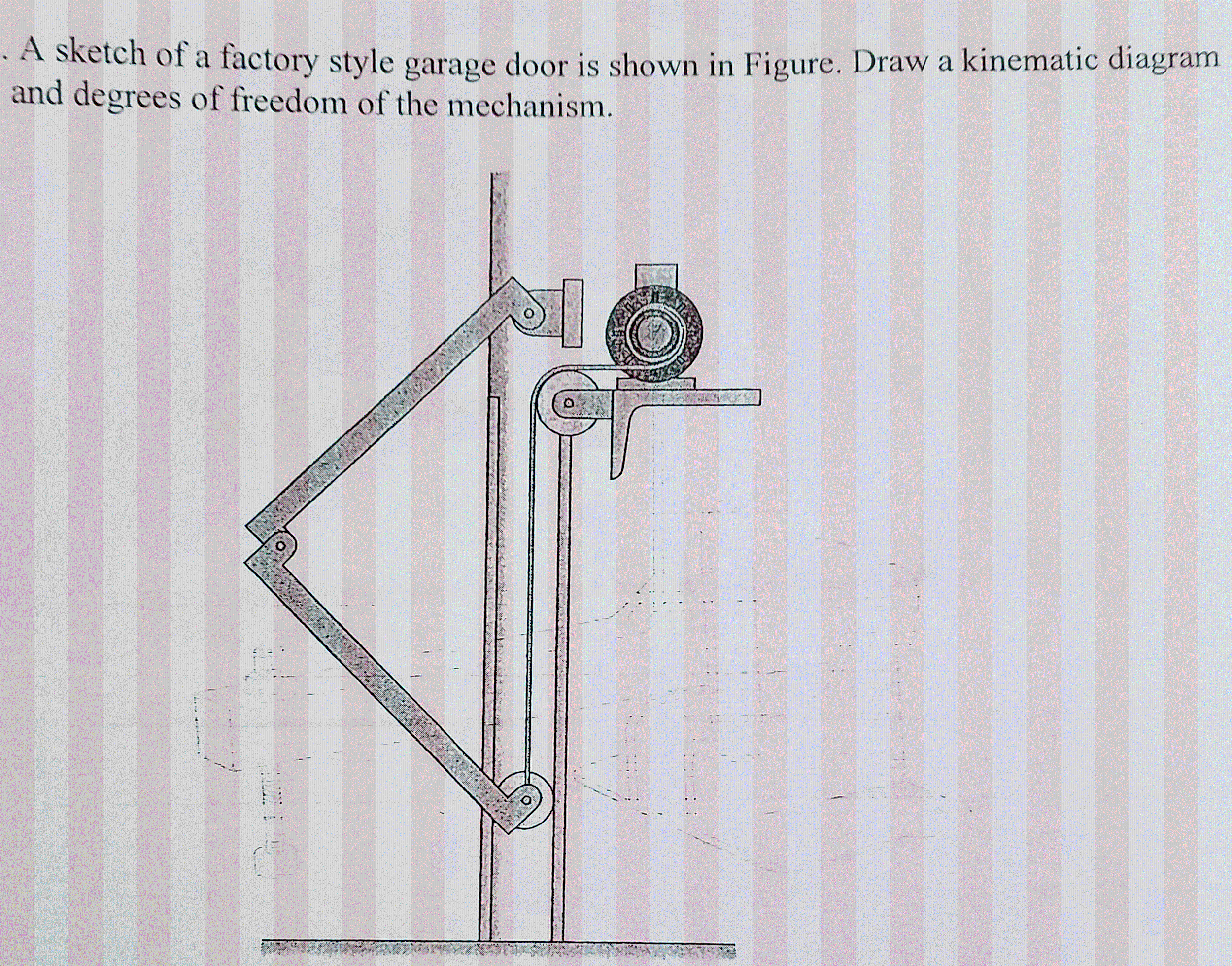 Solved a sketch of a factory style garage door is shown i a sketch of a factory style garage door is shown in figure draw a kinematic rubansaba