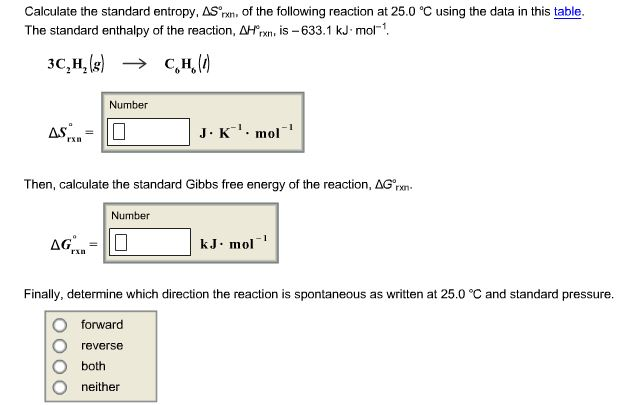 Calculate the standard entropy delta s degree rxn for Delta s table chemistry