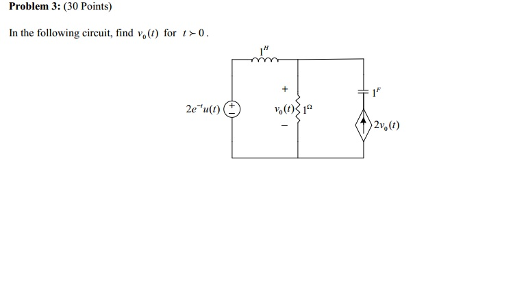 In the following circuit, find vo(t) for t 0.