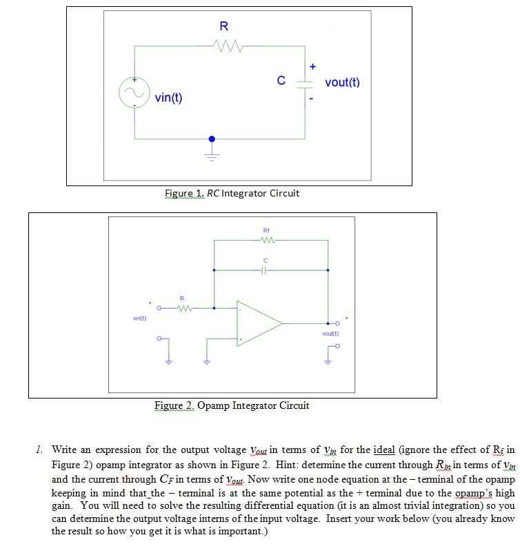 Figure 1. RC Integrator Circuit Figure.2. Opamp I