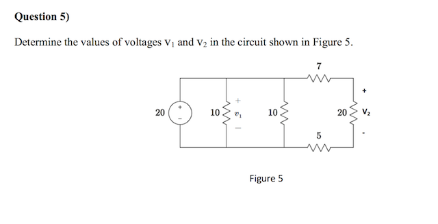Determine the values of voltages V1 and V2 in the