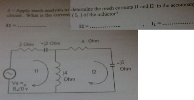 Apply mesh analysis to determine .the mesh current