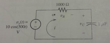 Find the phasors for the currentand the voltages f