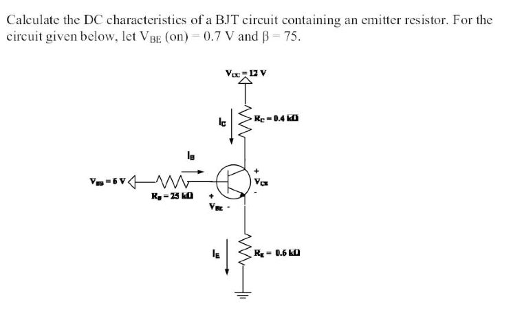 Calculate the DC characteristics of a BJT circuit