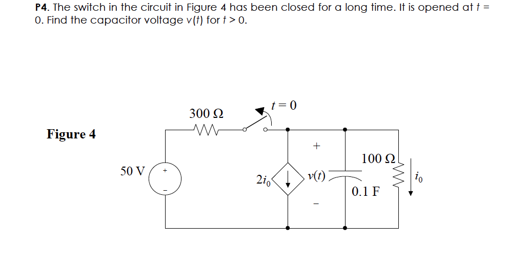 The switch in the circuit in Figure 4 has been clo
