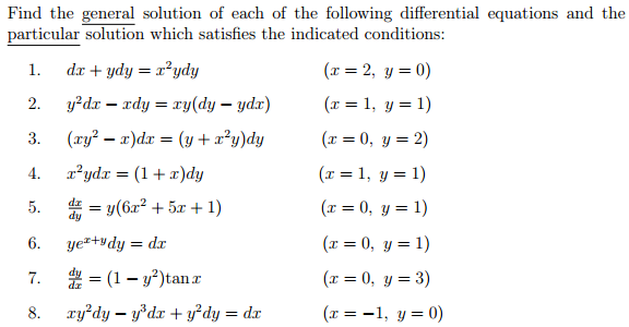 Find the general solution of each of the following