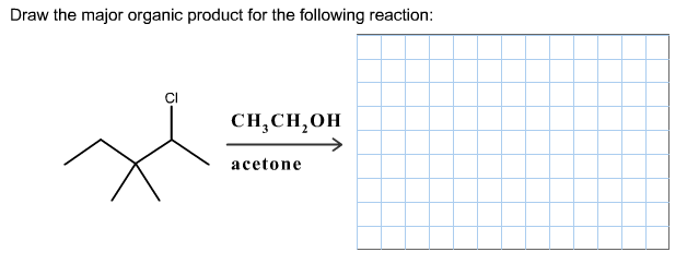 Draw the major organic product for the following r