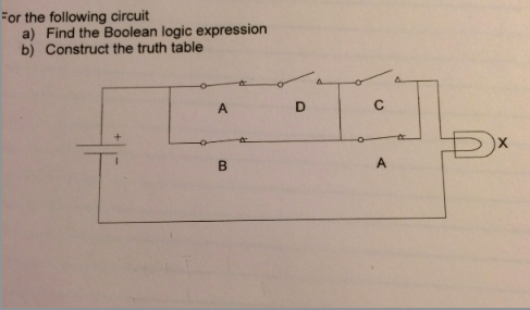 For the following circuit Find the Boolean logic