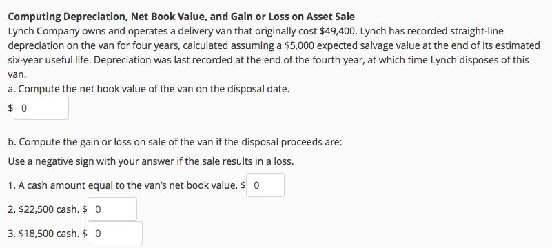 Solved: Computing Depreciation, Net Book Value, And Gain O ...