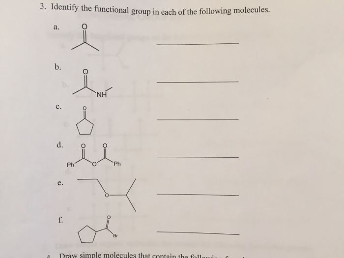 Identify The Functional Groups On The Following Or – Organic Molecules Worksheet