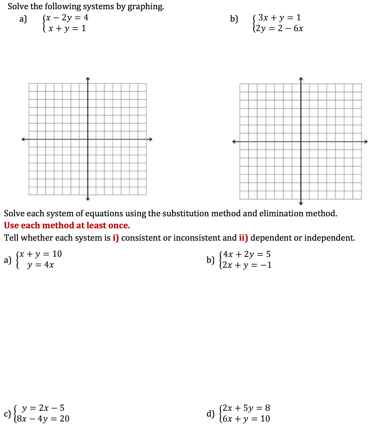 Solve The Following Systems By Graphing. Solve Eac... | Chegg.com