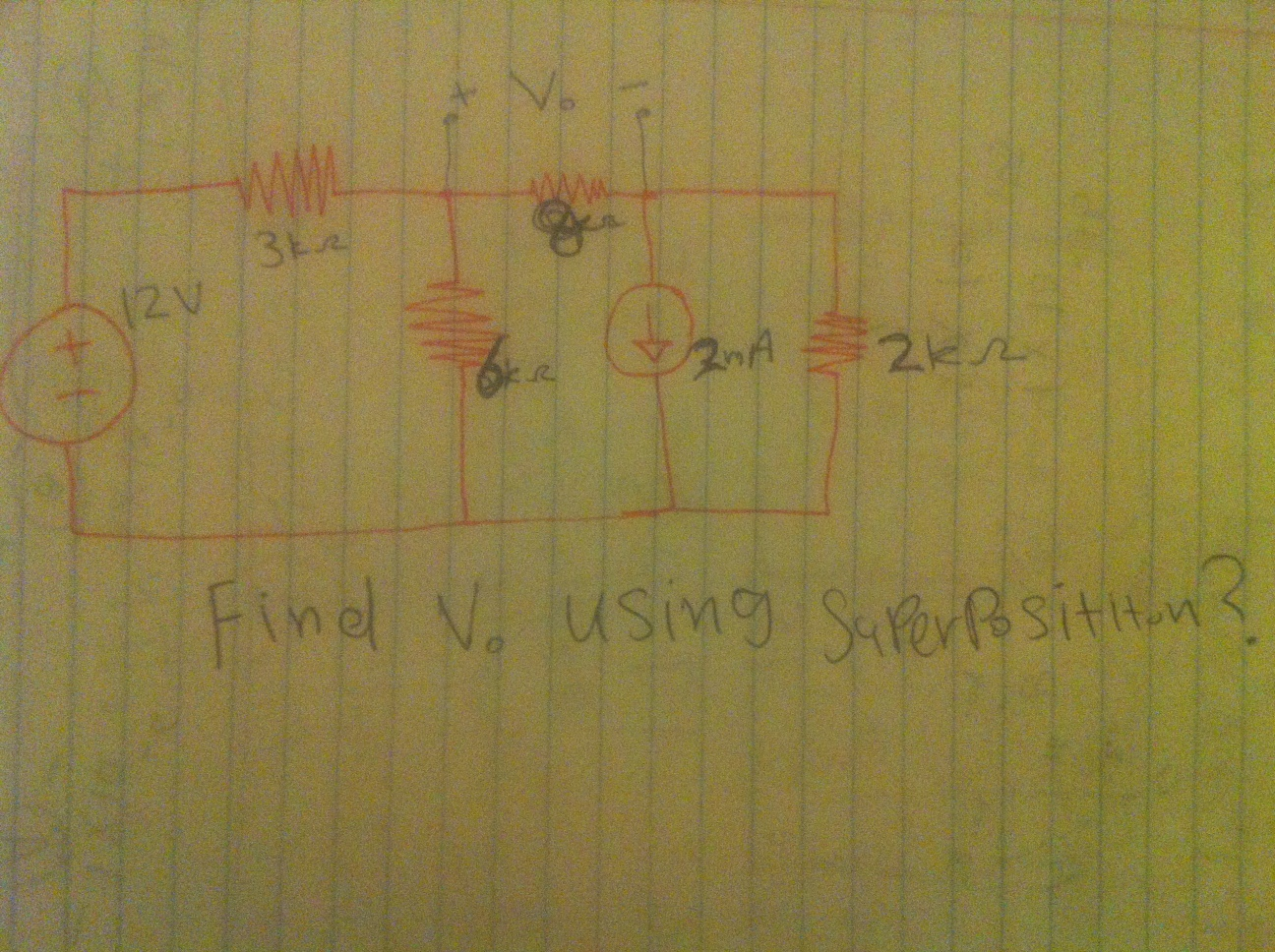 Find V0. using Superposition?