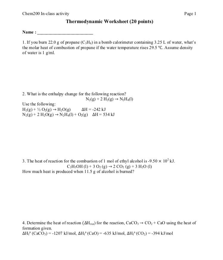 Solved Chem200 In Class Activity Page 1 Thermodynamic Wor