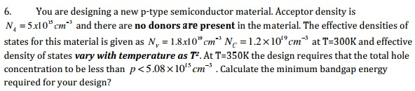 You are designing a new p-type semiconductor mater