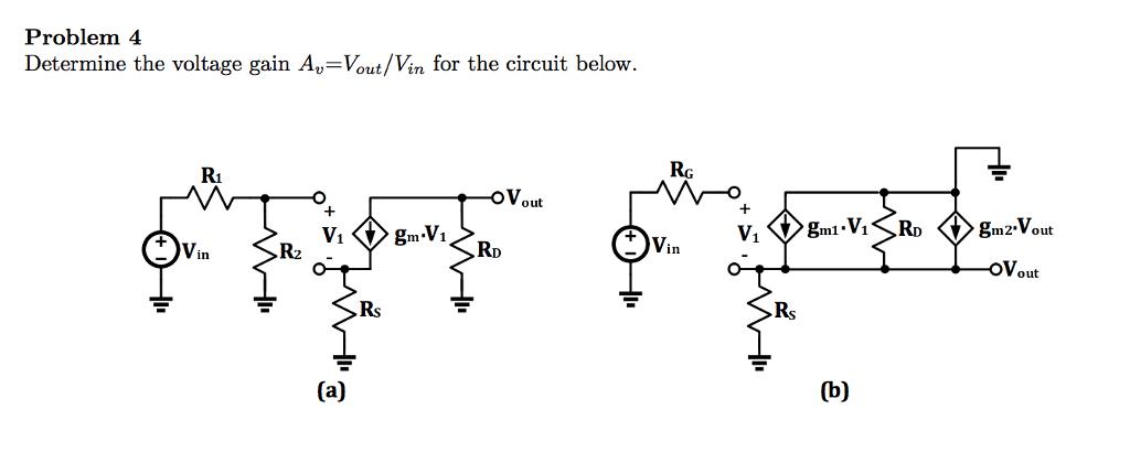 Determine the voltage gain A_upsilon=V_out/V_in fo
