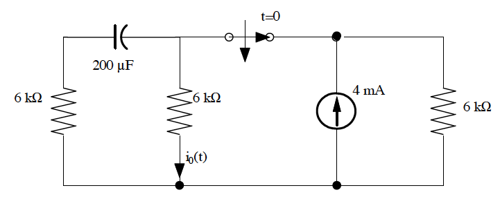 Find io(t) for t>0 in the circuit shown below.