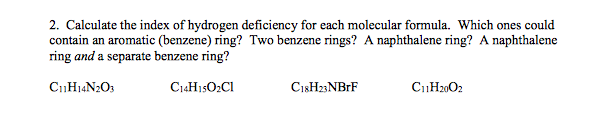 solved 2 calculate the index of hydrogen deficiency for